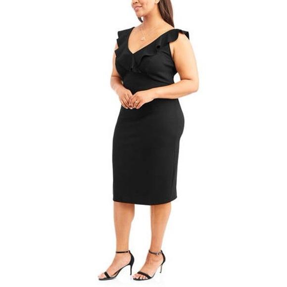 Love Squared Black Ruffle Neck Midi Dress Size 2X